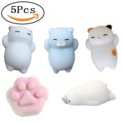 Squishy Cat Toy – 5-Pack Soft Squishies Slow Rising Polar Bear Cat Claw Fidget Toys Stress Relief Toy Gift for Kids