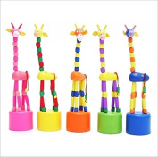 AhlsenL Wooden Push Puppets Swing Colourful Giraffe Desktop Decoration Cartoon Fingers Toys Kids Room Decor 2pcs Random Sent