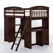 Hillsdale School House Student Loft With Twin Lower Bed, Chocolate