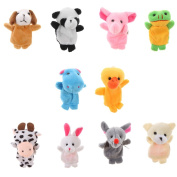 MagiDeal 10ps Finger Puppet Cloth Plush Doll Baby Educational Hand Cartoon Animal Toy