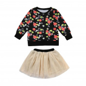 Momola 2pcs Baby Girls Outfit, Infants Long Sleeve Floral Print T-Shirt Tops+Solid Skirt Clothes Set for 6 Months - 3 Years Toddler Girls