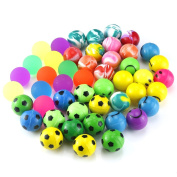 Biging 48 Pieces 4 Style 25mm Bouncy Balls Bulk Set Include Mixed Colour Ball Series, Neon Ball Series, Football Series and Smiley Ball Series for Party Bag Fillers