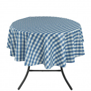 Ottomanson Vinyl Blue Chequered Design Indoor & Outdoor with Non-Woven Backing Tablecloth, 140cm Round