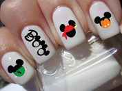 BOO halloween scary disney Mickey Mouse & Minnie Mouse costume heads nail art waterslide decals nail design set #h7