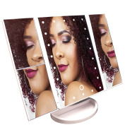 GLAMDEN Lighted Vanity Makeup Mirror with Dimmable LED, Tray, Professional 1X/2X/3X Clear Magnifying Eye Makeup Mirror, Pro Tabletop Stand for Office Desk | Works w/ AAA Batteries & Included USB