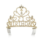 DcZeRong Queen 21 Birthday Tiara Crown Gold Women 21 birthday Party Prom Pageant Tiaras Crowns