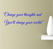 Change Your Thoughts And You'll Change Your World 22x7 Blue Vinyl Wall Art Inspirational Quotes Decal Sticker