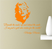 Beneath The Make-Up and Behind The Smile I am Just A Girl Who Wishes For The World 22x19 Orange Vinyl Wall Art Inspirational Quotes Decal Sticker