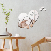 CYCTECH® 3D Love Hearts Mirror Self Adhesive DIY Art Decal Wallpaper Removable Stickers Home Decoration
