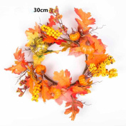 Wreath, 50cm Berry Maple Leaf Fall Door Wreath Door Wall Ornament Thanksgiving Day By Dacawin
