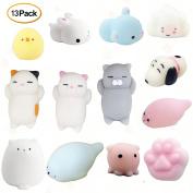 TSLIKANDO 13Pcs Slow Soft Rising Mini Animal Squishy Toys Stress Reliever Kids Toy Gift