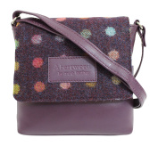 Mala Abertweed Collection British Leather Flap Over Purple Cheque Cross Body Bag Purse