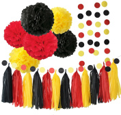 Mickey Mouse Colour Party Supplies Yellow Black Red Mickey Mouse Birthday Decoration/ Tissue Paper Pom Pom Tassel Garland Mickey Garland Baby Shower Decoraions