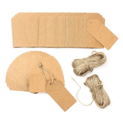 """200PCS Kraft Paper Tags with 49m Jute Twine, 3.8""""×1.8"""" Gift Tags"""