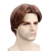 STfantasy Mens Wig Male Short Medium Straight Ombre Hair for Halloween Cosplay Party w/ Cap