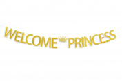 Firefairy™ Welcome Princess with Crown Gold Glitter Banner For Girl Baby Shower, Gender Reveal, Birthday Party Decorations
