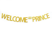 Firefairy™ Welcome Prince with Crown Gold Glitter Banner For Boy Baby Shower, Gender Reveal Birthday Party Decorations