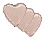 3 pc- 46cm Solid Rose Gold Heart Balloon Wedding Baby Bridal Shower Birthday Luau