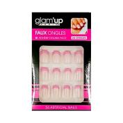 Glam Up – + Adhesive False Nails – French Pink Edging Silver