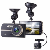 Dash Cam, EIVOTOR 1080P Full HD Dual Channel Dashboard Cameras Front and Rear, Driving Video Recorder with 10cm IPS Screen, Built In G-Sensor, Motion Detection, Loop Recorder