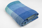LINEN blend BATHROOM HAND Towel - made in Baltic region - Blue and Green - checked - for hands, face - sauna, spa, gym uses