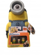 Bundle - Despicable Me Huggable Plush Minion Carl Toy Figure and Assorterd Micro Minion Playset