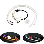 SUNDELY 2x 45CM Car LED DRL Tube Strips Light Switchback White & Amber Turn Signal Light