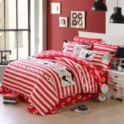 300tc cartoon style + pure cotton + cartoon anime + three-piece set(1quilt cover +1bed linen +1pillowcase)-K Twinch2