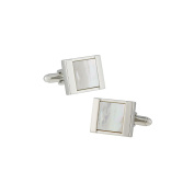 LINK UP Men's Silvertone Rectangle with Mother of Pearl Cufflink
