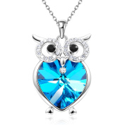 """GEORGE SMITH """"Owl of Minerva"""" Blue Heart Pendant Necklaces with Crystal Women Jewellery Birthday Gifts for Her,Wisdom Owl Necklace"""