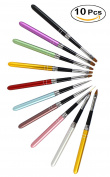 Xiaoyu 10PCS Nail Art Design Dotting Painting Drawing Pen, Polish Brush Set UV Gel Nail Beauty Tool Kit