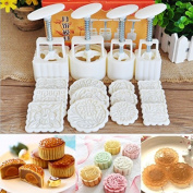 KING DO WAY Mooncake DIY Mould Hand Pressure Mould Cookie Cutter Baking 12 Stamps Tool Pastry Square Fower Homemade