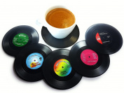 BlueBeach® Pack of 6 Retro CD Record Vinyl Coasters for Drinks / Coffee / Tea Cup Mat Tableware