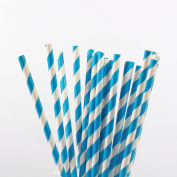 Paper Drinking Straws Striped - Choice of Colours - Pack of 100 - Everyday Weddings Celebrations and Parties