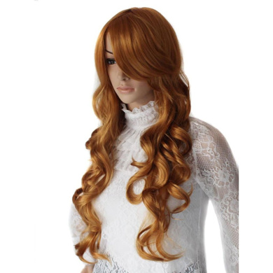 abHair 70cm Long Wavy Charming Wigs with Swept Bangs for Costume Party or Daily Strawberry Blonde Fashion Synthetic Heat Resistant Wig