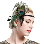 BABEYOND 1920s Flapper Headband Roaring 20s Great Gatsby Headpiece 20s Peacock Headband 1920s Flapper Gatsby Hair Accessories