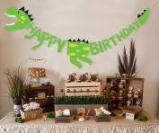 Dinosaur Happy Birthday Banner Party Supplies Decorations - Dino Jungle Jurassic Garland