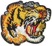 7.6cm Pair Head Tiger Bengal Big Cat Wild Animal Zoo Patch Sew Iron on Embroidered Applique T-shirt Jean Jacket Pants Decoration DIY Costume
