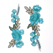 TUANTUAN 2 Pcs Embroidered Rose Flower Applique Floral Sew on Iron on Patches for Clothing DIY Motif Applique