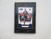 Jeff Teague Indiana Pacers Prestige Threads NBA 2016-17 player card mounted on a 10cm x 15cm black marble plaque