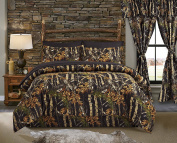 Regal Comfort The Woods Black Camouflage Twin 4 Piece Premium Luxury Comforter, Bed Skirt, and 2 Pillow Shams Set - Camo Bedding Set For Hunters Cabin or Rustic Lodge Teens Boys and Girls