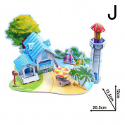 SNNplapla 3D DIY Beach House Construction Jigsaw Puzzle Toys for Kids Children Early Education--EVA Paper Board Material, J