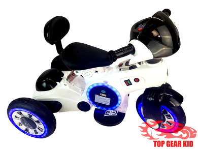 12V ELECTRIC TRICYCLE KID RIDE ON TOY WITH LED WHEELS AND MP3 PLAYER (WHITE)
