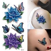 Temporary Tattoos - Rose Tattoo Tafly Fake Tattoos Waterproof Bikini Glue Temporary - Colourful 3d Butterfly Flower Rose Tattoo Sticker Waterproof Temporary Decal Diy Body Art - - 1PCs