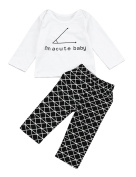 Weant Newborn Baby Boy Girl Clothes Winter Autumn Infant Home Outfits 2pcs I Am Acute Baby Tops+ Pants