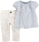 Carter's_1 Girl Collection 2pc Ticking Stripe, Blue