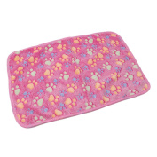 ULAKY Pet Blanket For Dog Cat, Warm Pet Mat Small Large Paw Print Cat Dog Puppy Fleece Soft Blanket Cushion,Pink paw prints