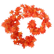 Crt Gucy 12m - 5 Strands Autumn Artificial Maple Leaf Garland Fall Decoration For Home Wedding Wall Party