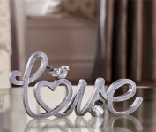 Giftcraft 28cm Love Word Figurine in Brushed Silver for Desk, Table or Shelf Decor