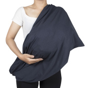 Lofbaz Care Cover Infinity Nursing Scarf for Breastfeeding Solid Dark Blue One Size